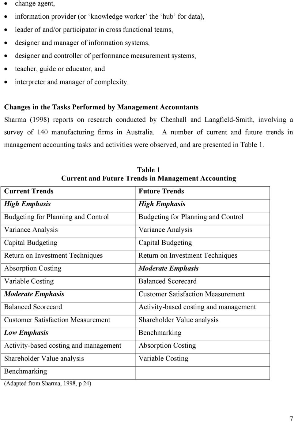 Changes in the Tasks Performed by Management Accountants Sharma (1998) reports on research conducted by Chenhall and Langfield-Smith, involving a survey of 140 manufacturing firms in Australia.