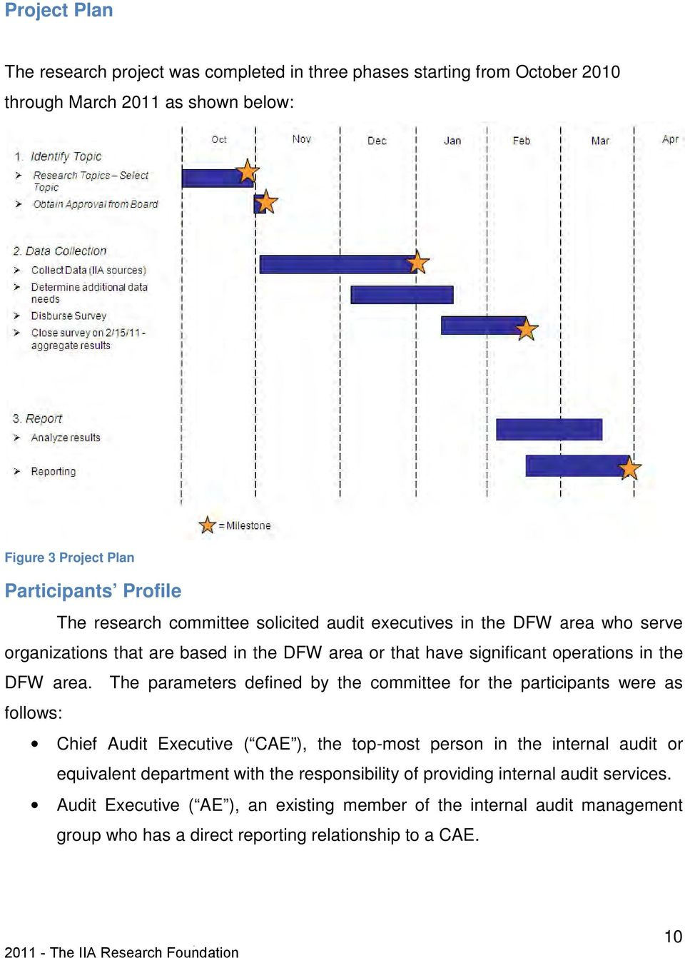 The parameters defined by the committee for the participants were as follows: Chief Audit Executive ( CAE ), the top-most person in the internal audit or equivalent department with