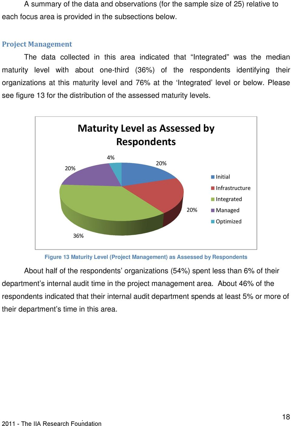 maturity level and 76% at the Integrated level or below. Please see figure 13 for the distribution of the assessed maturity levels.