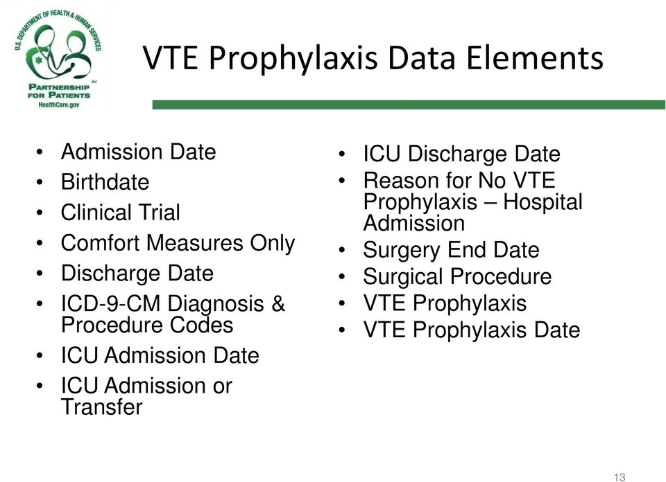 Date ICU Admission or Transfer ICU Discharge Date Reason for No VTE Prophylaxis