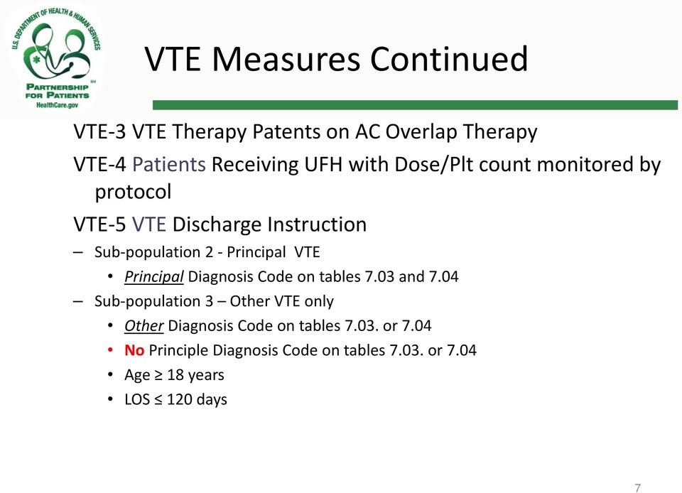 VTE Principal Diagnosis Code on tables 7.03 and 7.