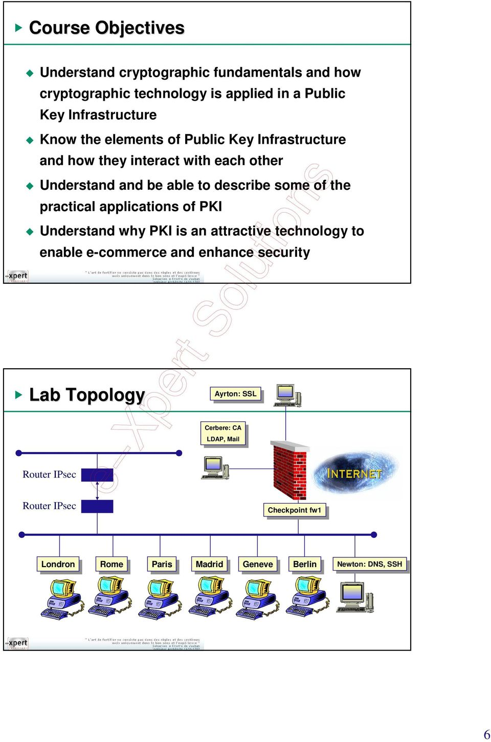 attractive technology to enable e-commerce and enhance security Lab Topology Ayrton: Ayrton: SSL SSL Cerbere: CA Cerbere: CA LDAP, Mail LDAP, Mail Router
