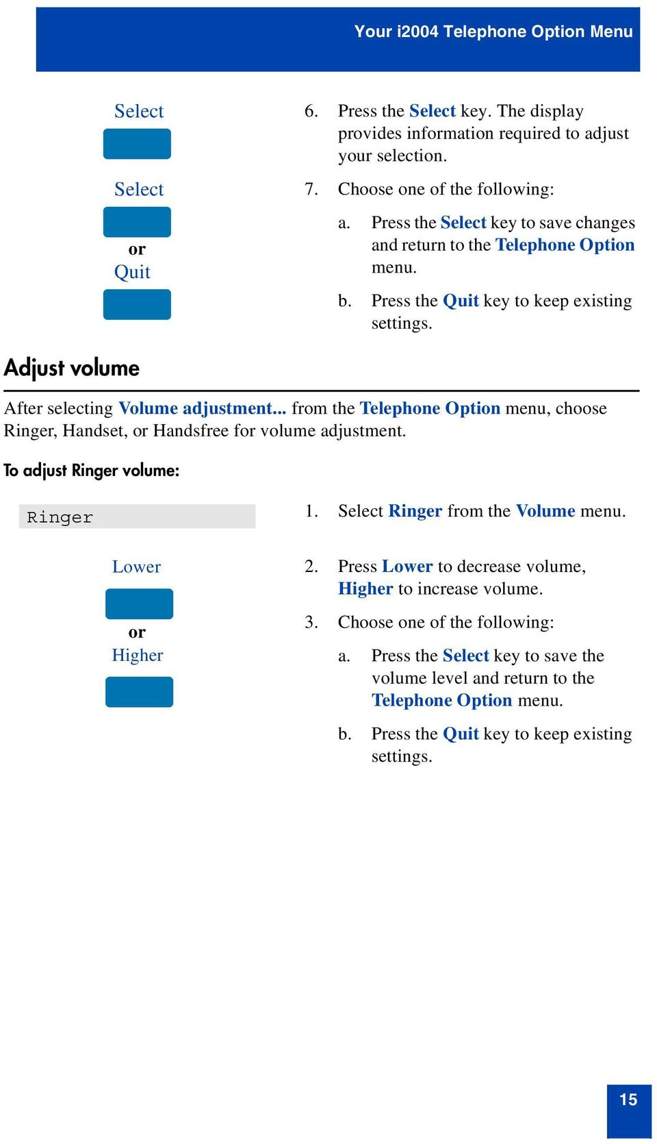 .. from the Telephone Option menu, choose Ringer, Handset, or Handsfree for volume adjustment. To adjust Ringer volume: Ringer 1. Select Ringer from the Volume menu. Lower or Higher 2.