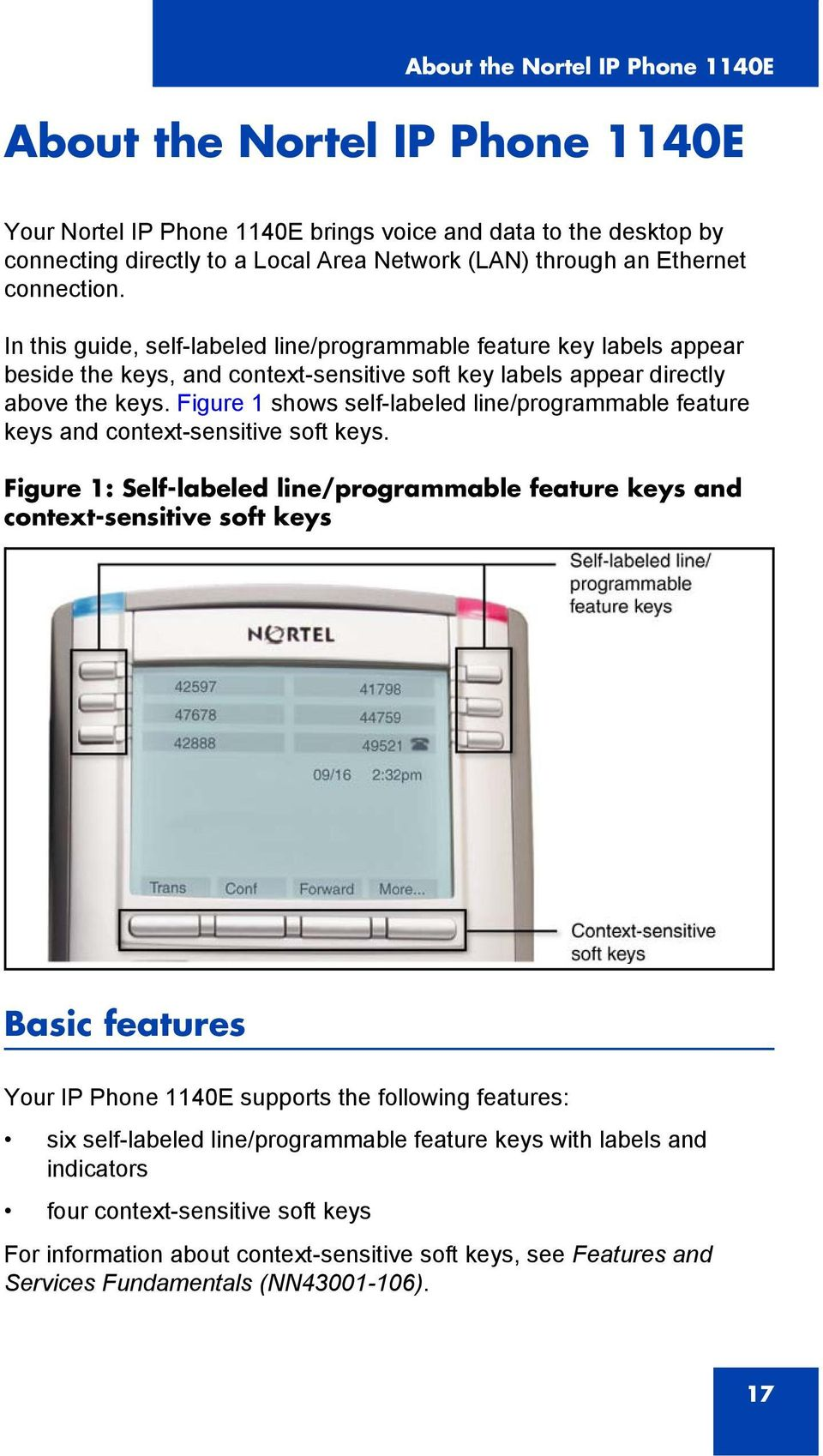Figure 1 shows self-labeled line/programmable feature keys and context-sensitive soft keys.