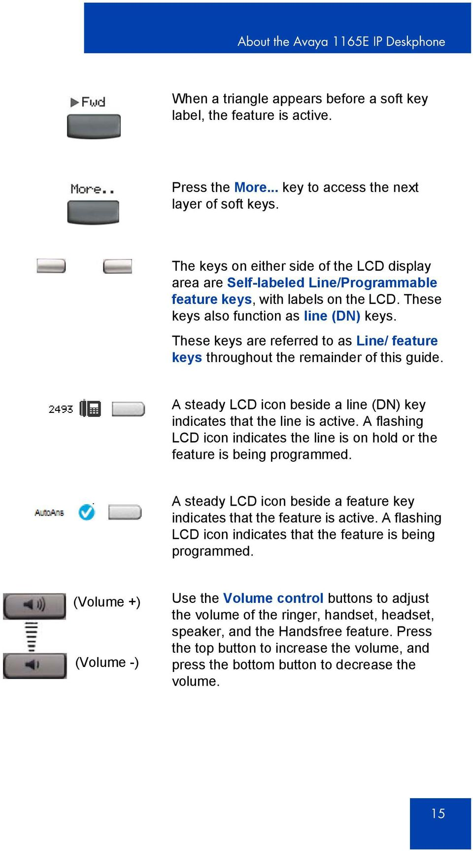 These keys are referred to as Line/ feature keys throughout the remainder of this guide. A steady LCD icon beside a line (DN) key indicates that the line is active.