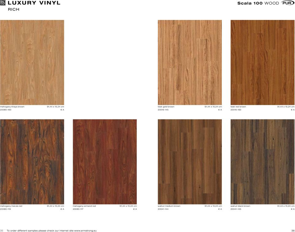 red 20080-117 E A walnut medium brown 20041-144 E A walnut black brown 20041-145 E