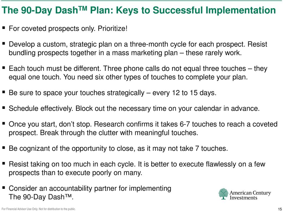You need six other types of touches to complete your plan. Be sure to space your touches strategically every 12 to 15 days. Schedule effectively.