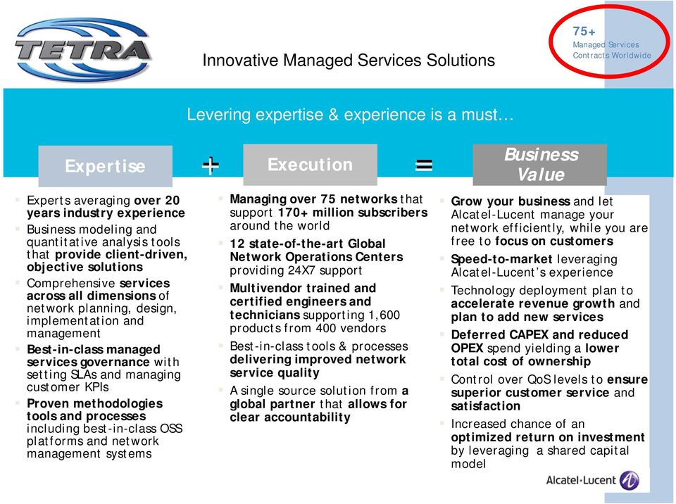 Best-in-class managed services governance with setting SLAs and managing customer KPIs Proven methodologies tools and processes including best-in-class OSS platforms and network management systems +