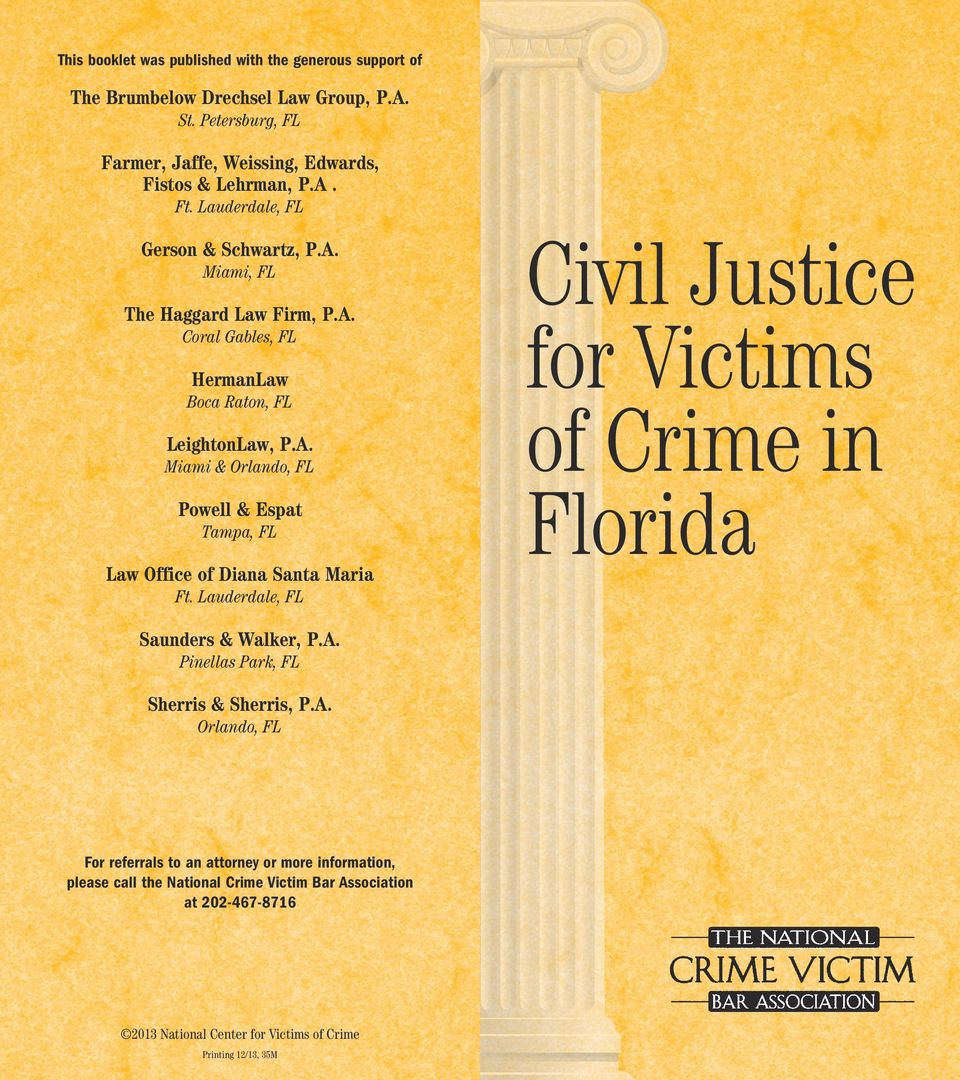 Lauderdale, FL Civil Justice for Victims of Crime in Florida Saunders & Walker, P.A.