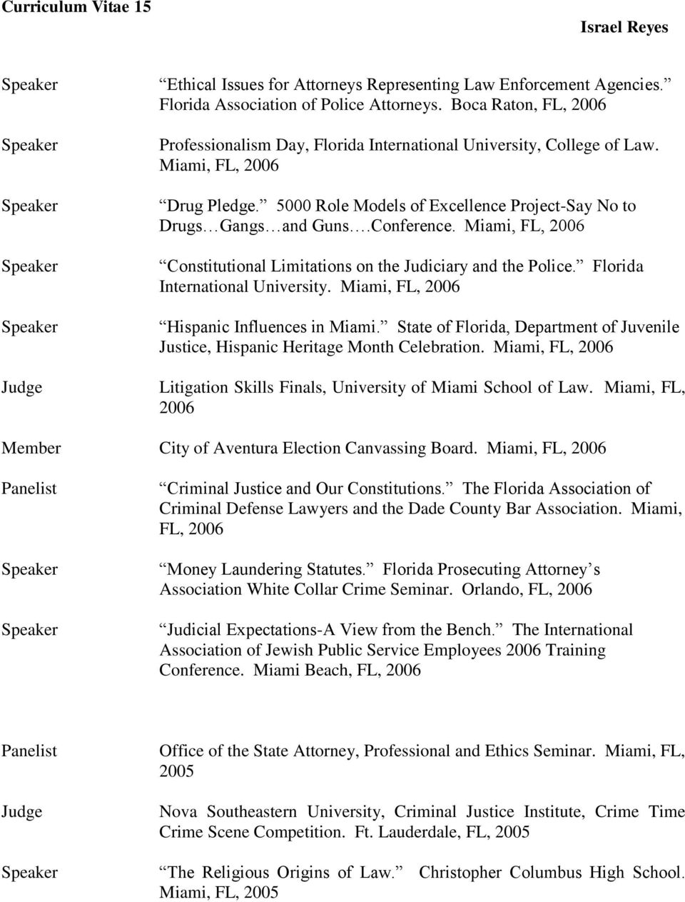 Conference. Miami, FL, 2006 Constitutional Limitations on the Judiciary and the Police. Florida International University. Miami, FL, 2006 Hispanic Influences in Miami.