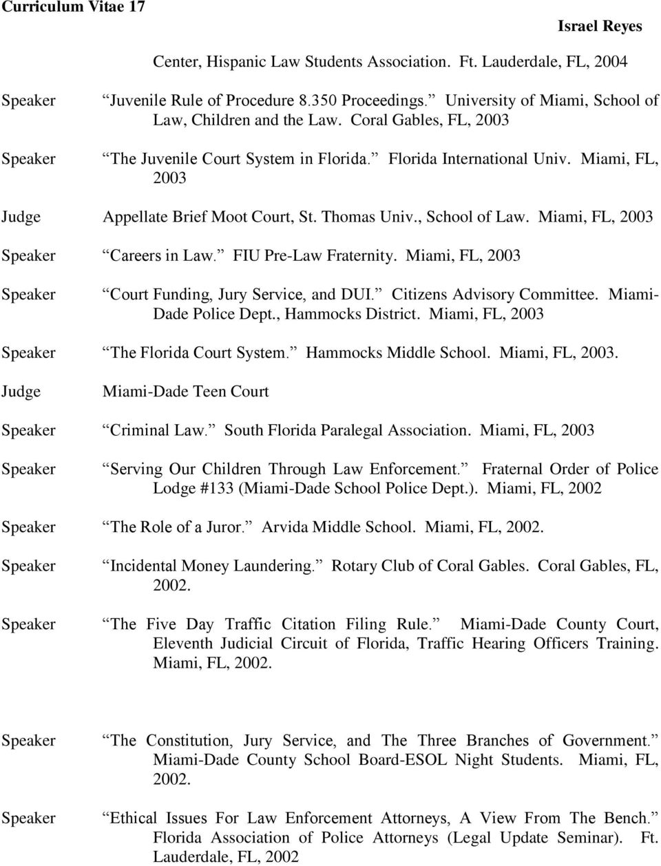 FIU Pre-Law Fraternity. Miami, FL, 2003 Court Funding, Jury Service, and DUI. Citizens Advisory Committee. Miami- Dade Police Dept., Hammocks District. Miami, FL, 2003 The Florida Court System.