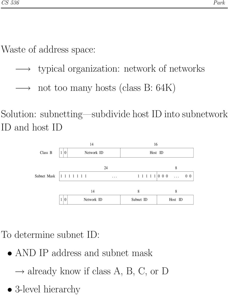 Host ID Subnet Mask 24 8 1 1 1 1 1 1 1... 1 1 1 1 1 0 0 0.