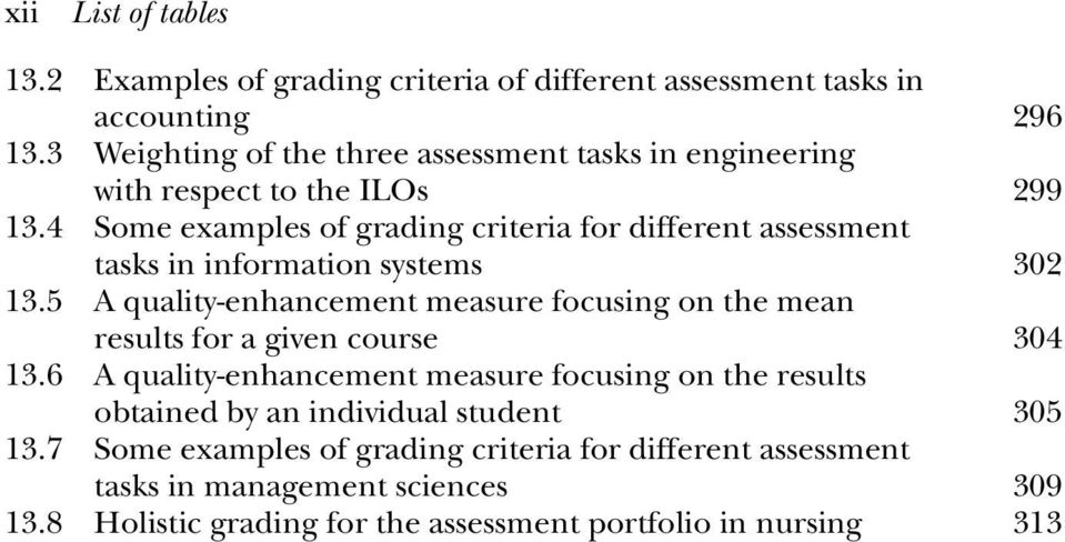 4 Some examples of grading criteria for different assessment tasks in information systems 302 13.
