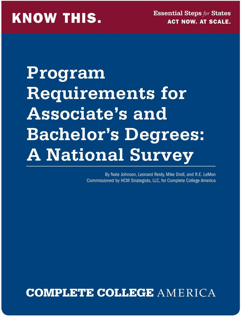 National Survey By Nate Johnson, Leonard Reidy, Mike Droll, and R.