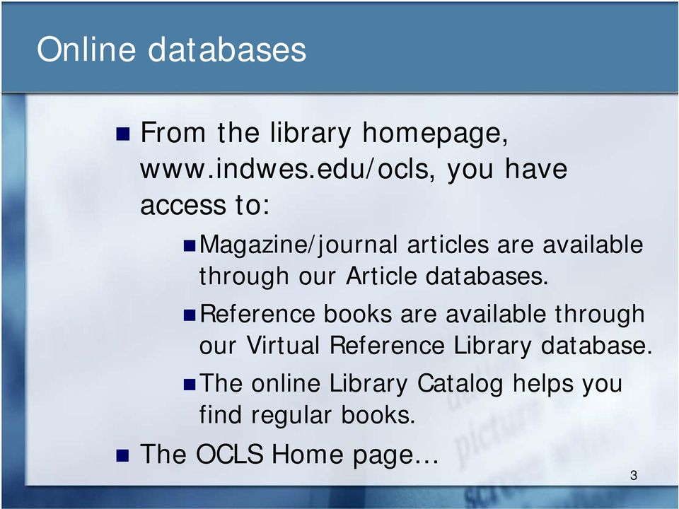 our Article databases.