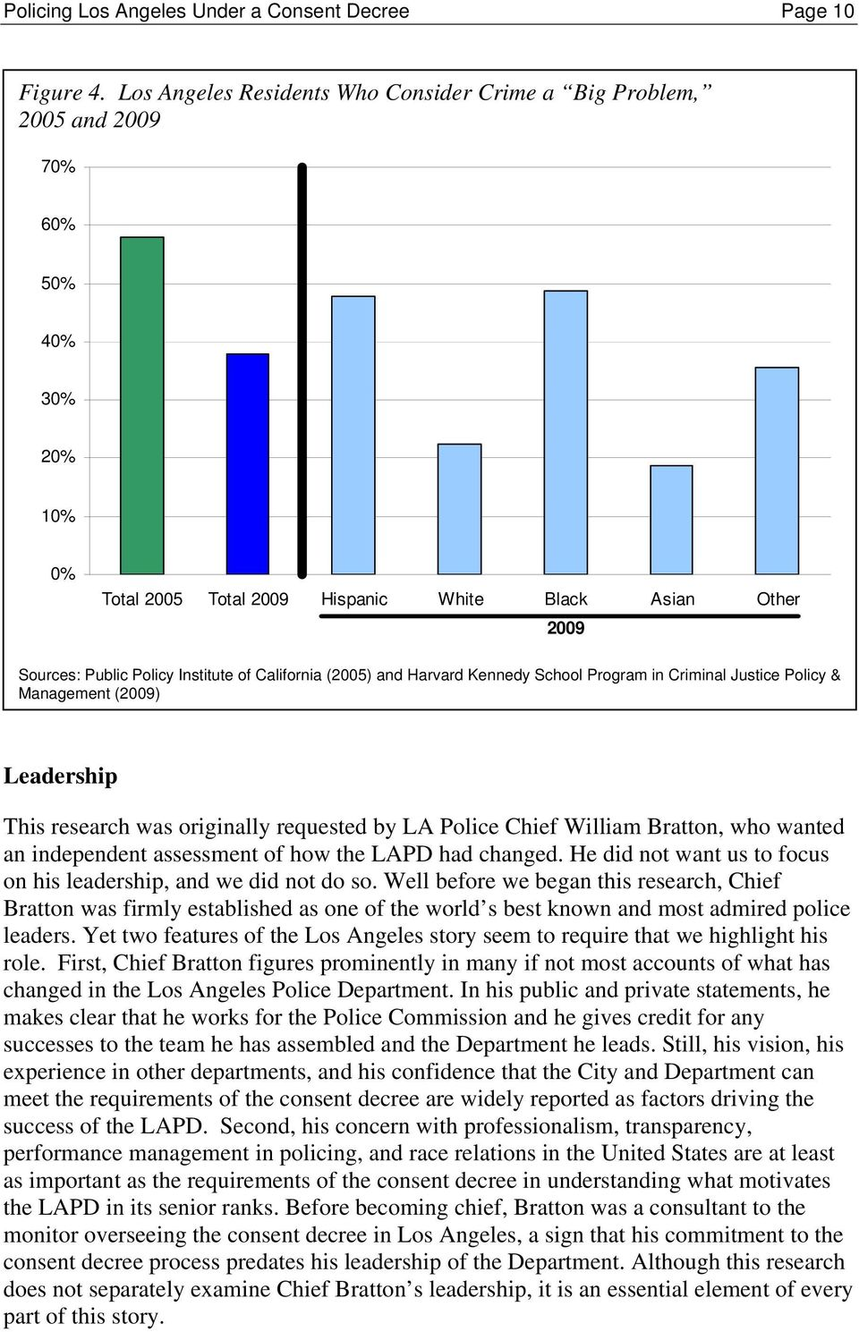 California (2005) and Harvard Kennedy School Program in Criminal Justice Policy & Management (2009) Leadership This research was originally requested by LA Police Chief William Bratton, who wanted an