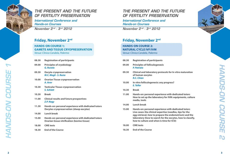 30 Testicular Tissue cryopreservation S. Schlatt 10.30 Break 11.00 Clinical results and future prospectives Z.P. Nagy 11.