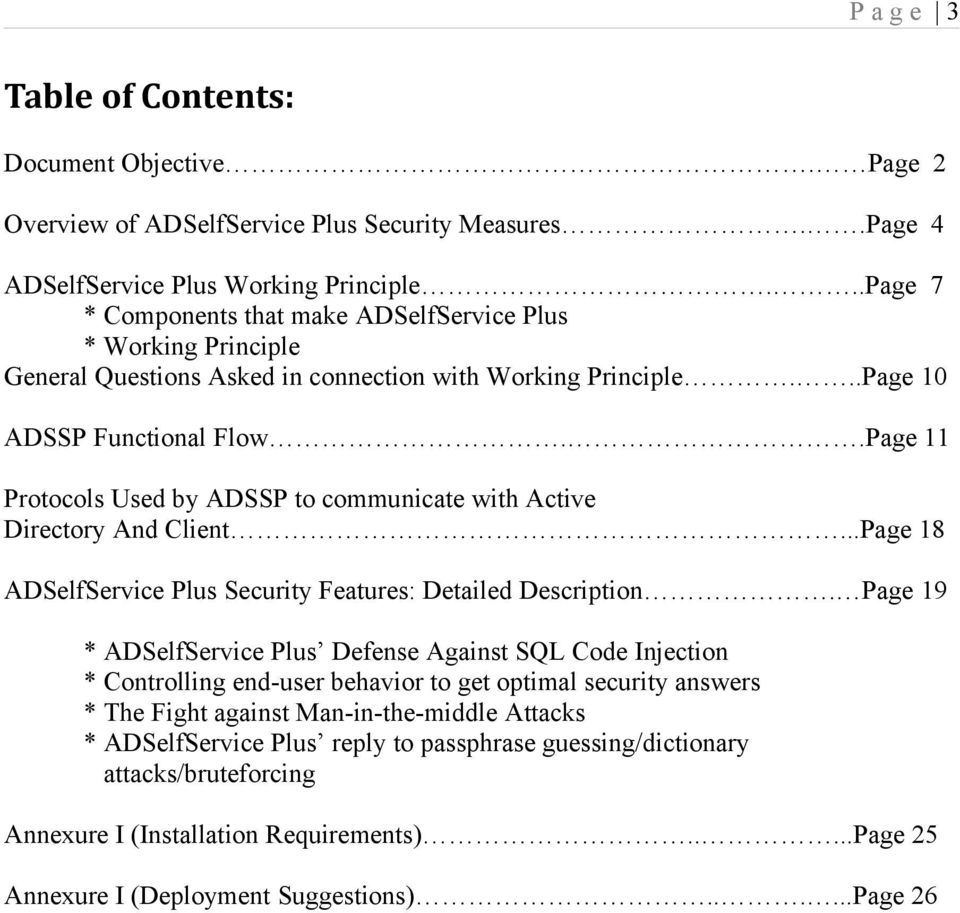 .Page 11 Protocols Used by ADSSP to communicate with Active Directory And Client...Page 18 ADSelfService Plus Security Features: Detailed Description.