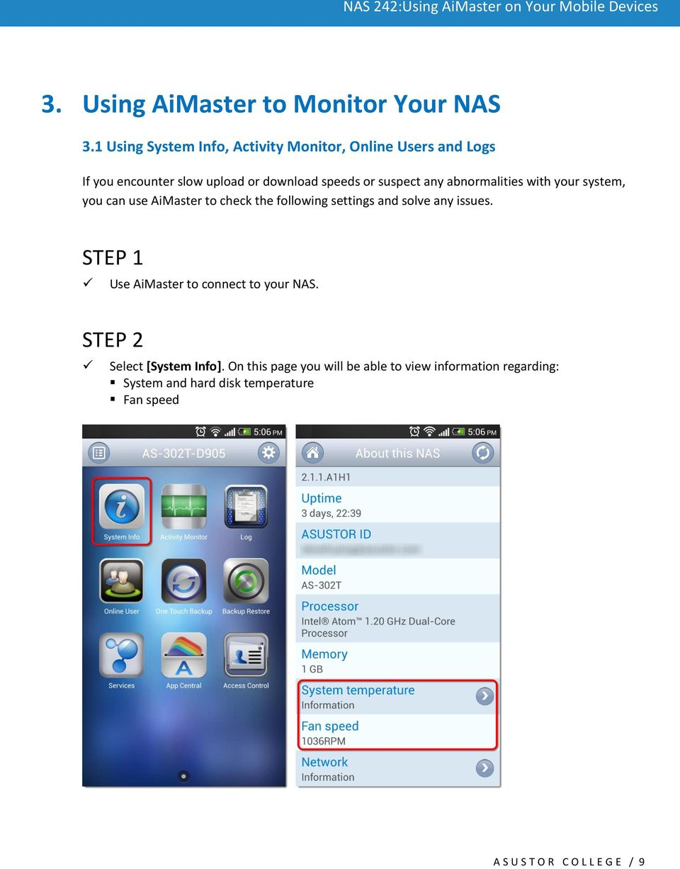any abnormalities with your system, you can use AiMaster to check the following settings and solve any issues.