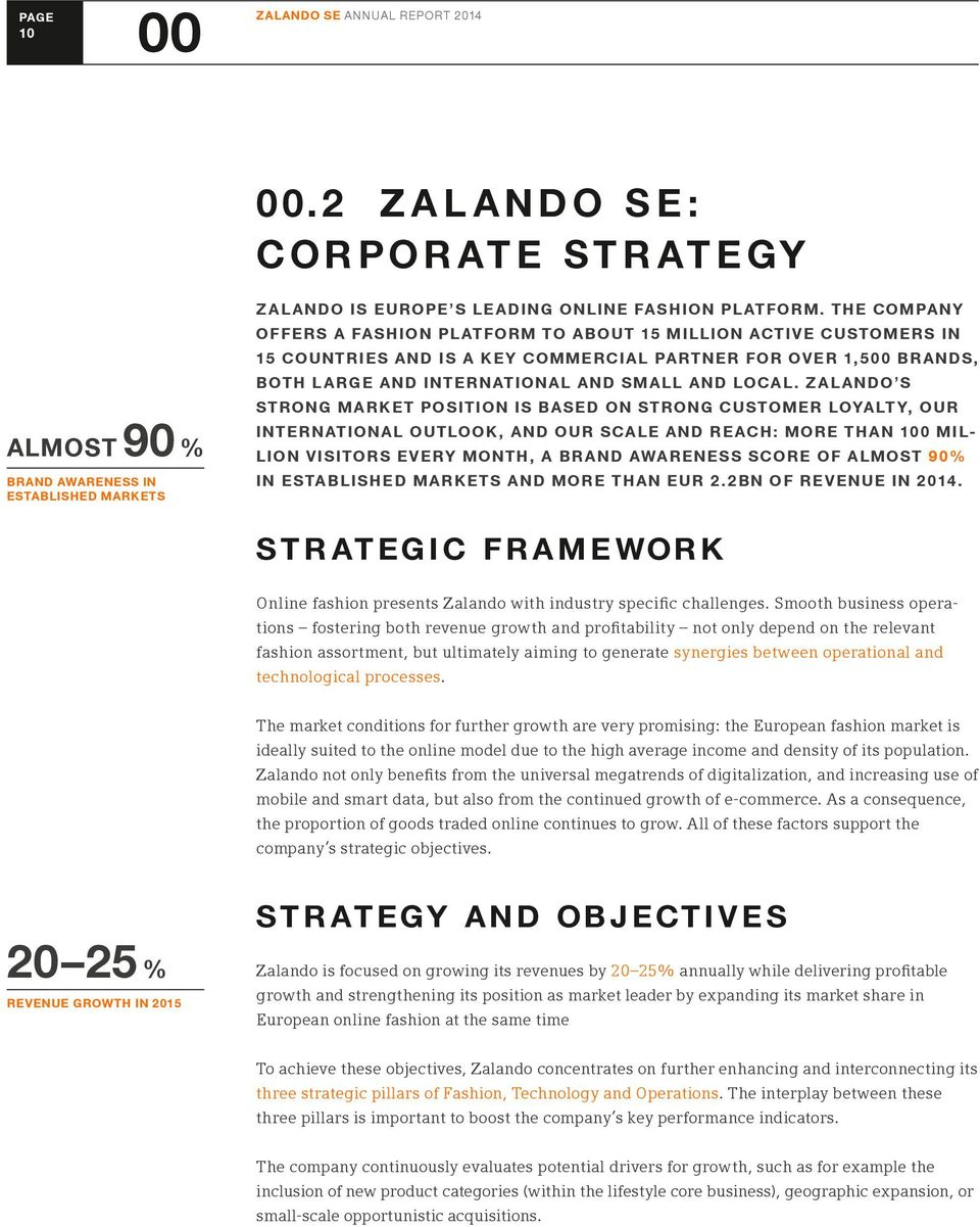 ZALANDO S STRONG MARKET POSITION IS BASED ON STRONG CUSTOMER LOYALTY, OUR INTERNATIONAL OUTLOOK, AND OUR SCALE AND REACH: MORE THAN 100 MIL- LION VISITORS EVERY MONTH, A BRAND AWARENESS SCORE OF