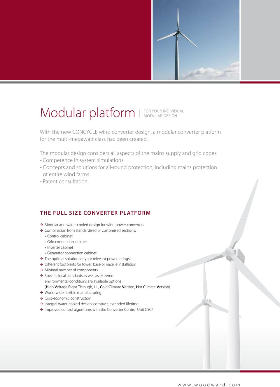 wind farms - Patent consultation The full size converter Platform Modular and water-cooled design for wind power converters combination from standardised or customised sections: Control cabinet Grid