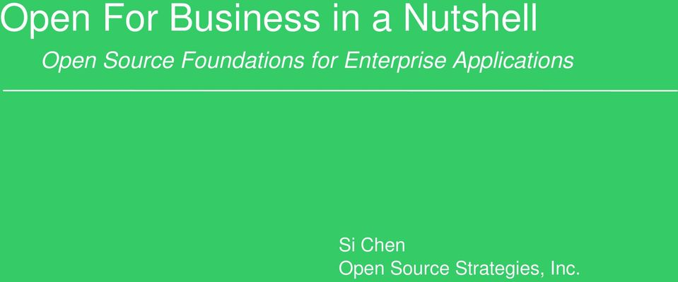 Foundations for Enterprise