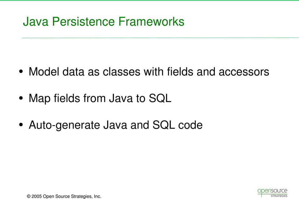accessors Map fields from Java to