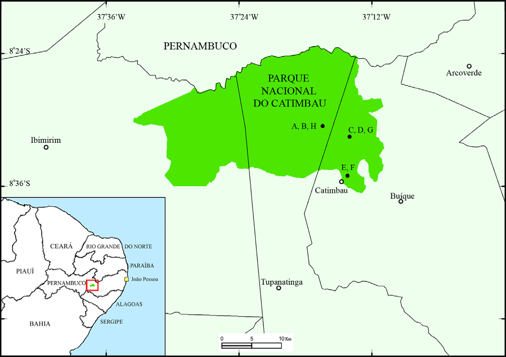the PARNA do Catimbau occupies part of Buíque, Ibimirim and Tupanatinga municipalities (Figure 1), situated in the transition between the agreste and the sertão, in the São Francisco River basin.