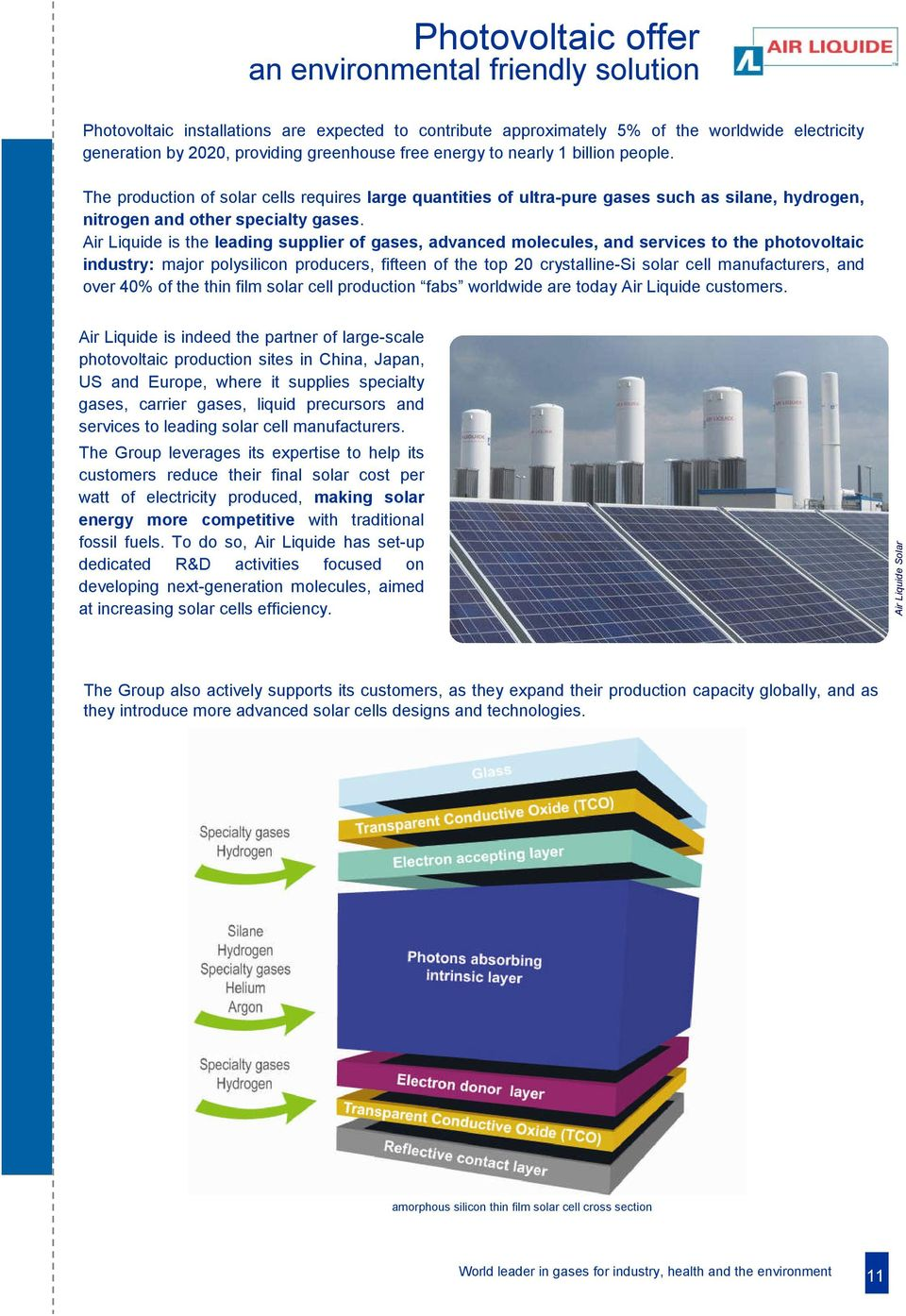 Air Liquide is the leading supplier of gases, advanced molecules, and services to the photovoltaic industry: major polysilicon producers, fifteen of the top 20 crystalline-si solar cell