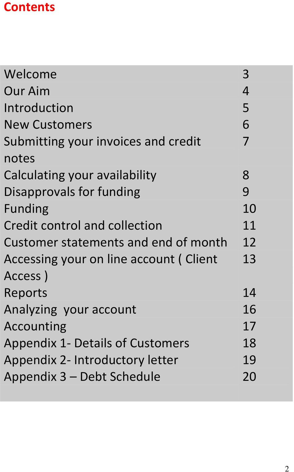 statements and end of month 12 Accessing your on line account ( Client 13 Access ) Reports 14 Analyzing your