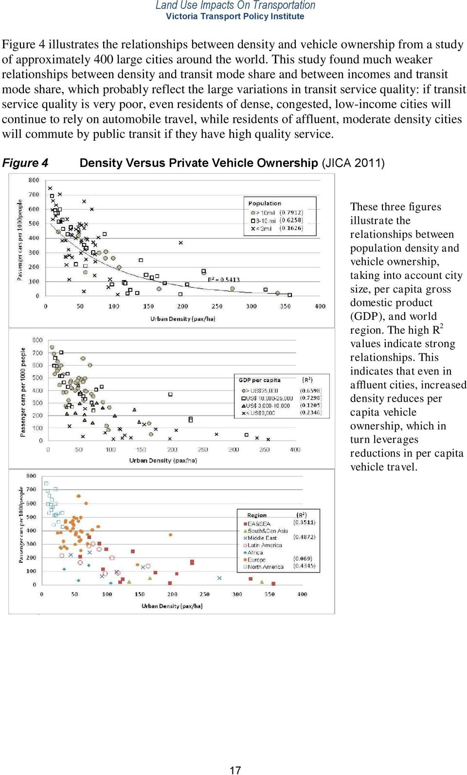 if transit service quality is very poor, even residents of dense, congested, low-income cities will continue to rely on automobile travel, while residents of affluent, moderate density cities will