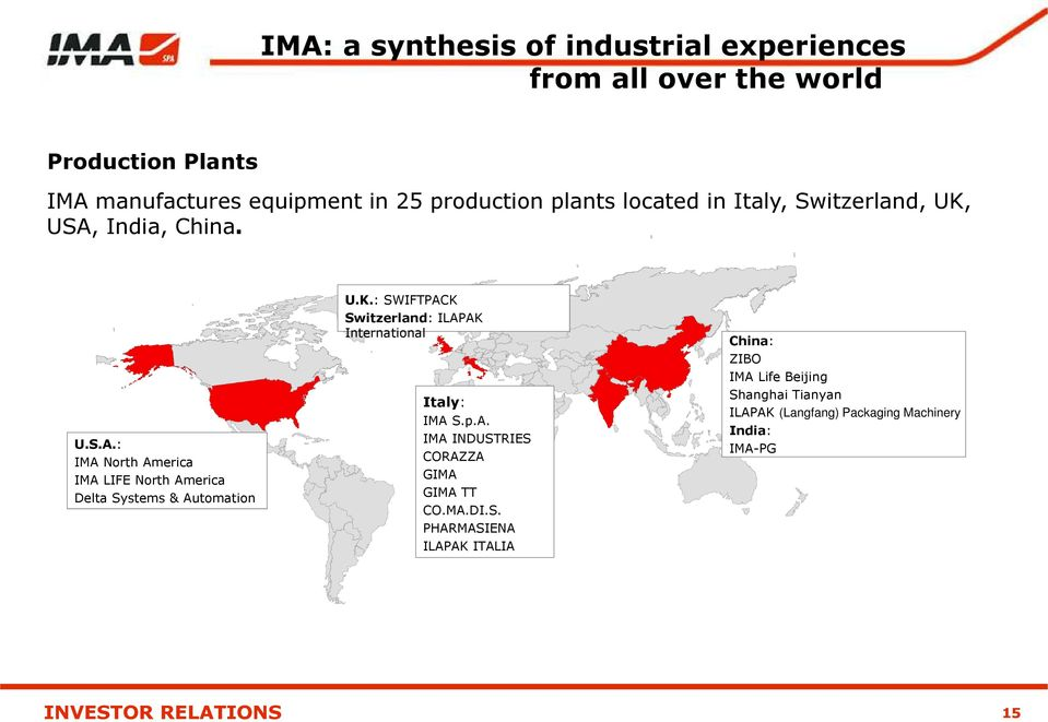 India, China. U.S.A.: IMA North America IMA LIFE North America Delta Systems & Automation U.K.