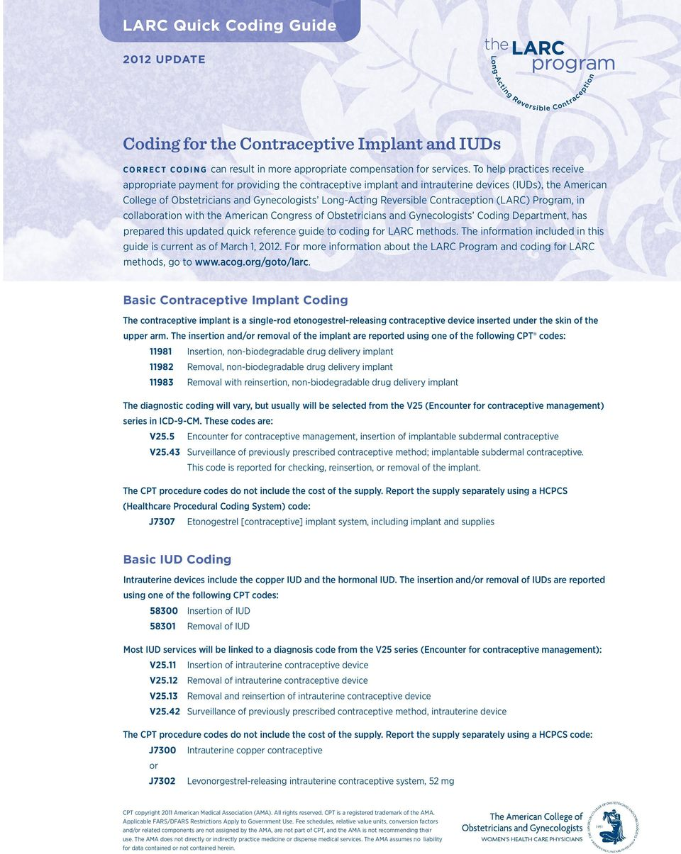 Contraception (LARC) Program, in collaboration with the American Congress of Obstetricians and Gynecologists Coding Department, has prepared this updated quick reference guide to coding for LARC