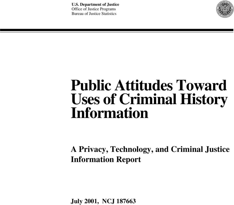 Uses of Criminal History Information A Privacy,