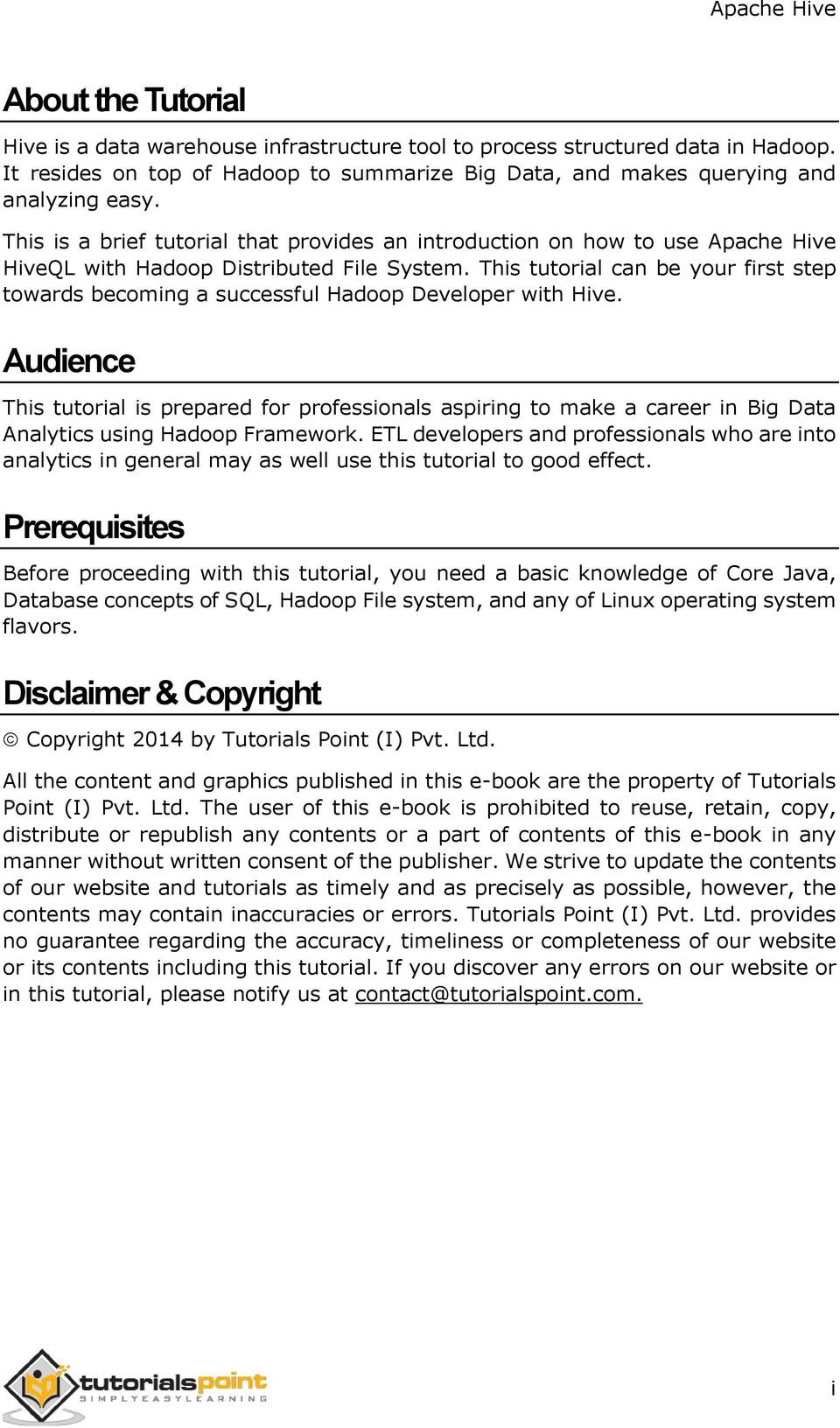 about the tutorial. audience. prerequisites. disclaimer & copyright