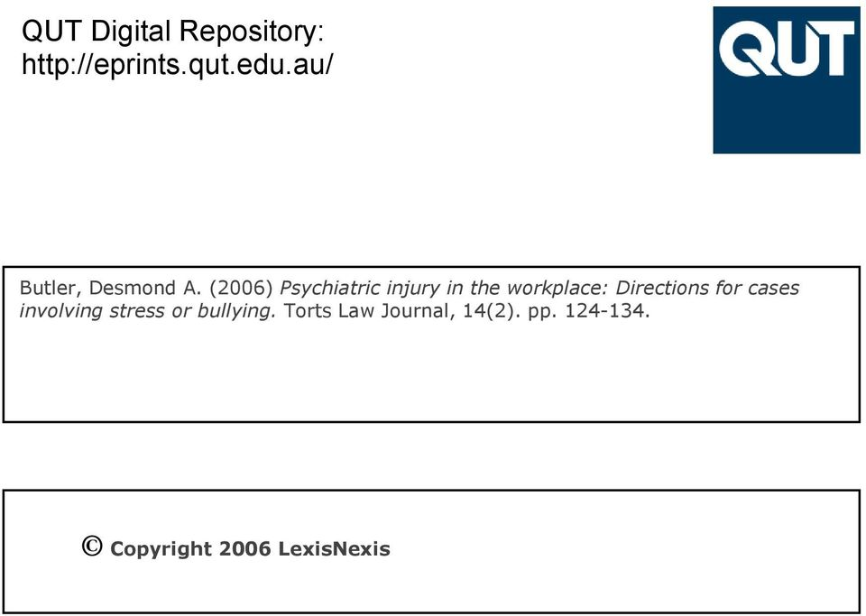 (2006) Psychiatric injury in the workplace: Directions