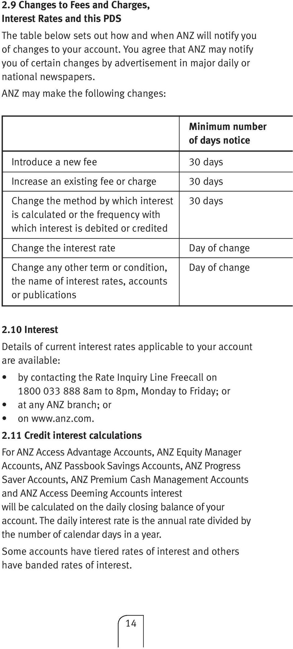 ANZ may make the following changes: Minimum number of days notice Introduce a new fee Increase an existing fee or charge Change the method by which interest is calculated or the frequency with which