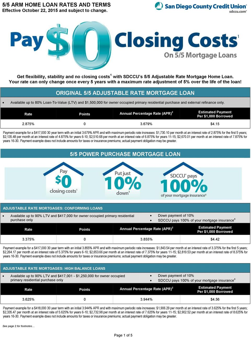 ORIGINAL 5/5 ADJUSTABLE RATE MORTGAGE LOAN Available up to 80% Loan-To-Value (LTV) and $1,500,000 for owner occupied primary residential purchase and external refinance only..875% 0 3.679% $4.