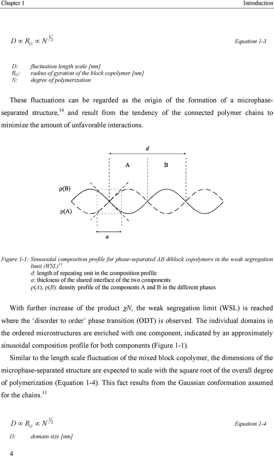 Figure 1-1: Sinusoidal composition profile for phase-separated AB diblock copolymers in the weak segregation limit (WSL) 11 d: length of repeating unit in the composition profile a: thickness of the