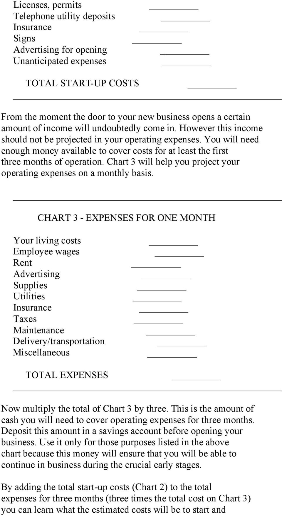 You will need enough money available to cover costs for at least the first three months of operation. Chart 3 will help you project your operating expenses on a monthly basis.