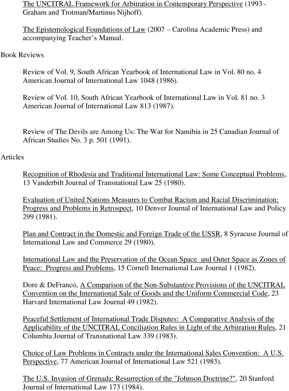 4 American Journal of International Law 1048 (1986). Review of Vol. 10, South African Yearbook of International Law in Vol. 81 no. 3 American Journal of International Law 813 (1987).