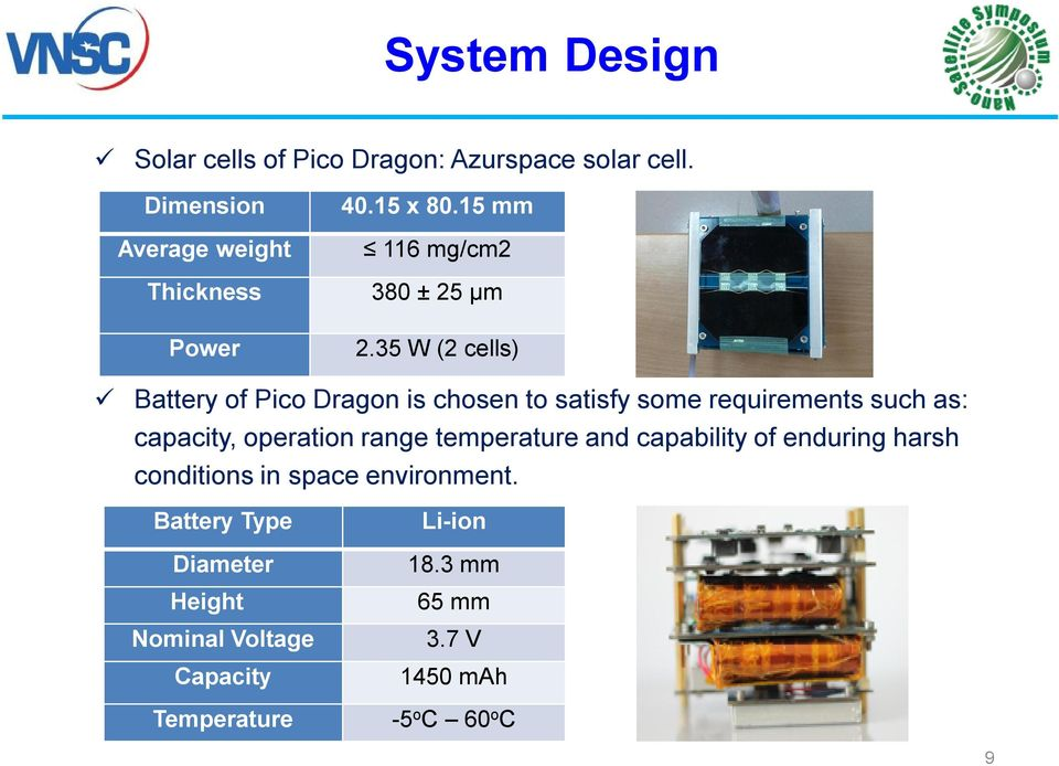 35 W (2 cells) Battery of Pico Dragon is chosen to satisfy some requirements such as: capacity, operation range