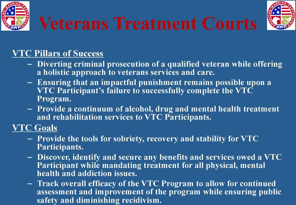 Provide a continuum of alcohol, drug and mental health treatment and rehabilitation services to VTC Participants.