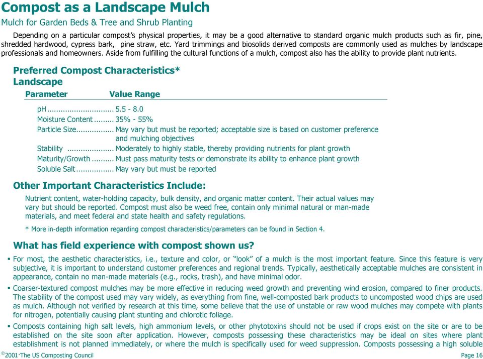 Aside from fulfilling the cultural functions of a mulch, compost also has the ability to provide plant nutrients. Preferred Compost Characteristics* Landscape Parameter Value Range ph... 5.5-8.