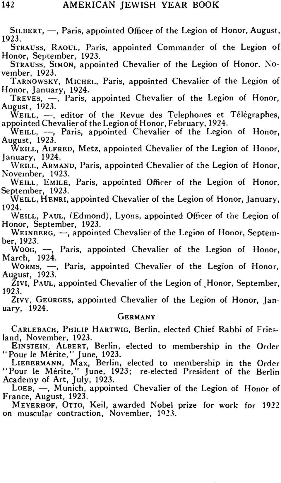 TREVES,, Paris, appointed Chevalier of the Legion of Honor, August, WEILL,, editor of the Revue des Telephones et Telegraphes, appointed Chevalier of the Legion of Honor, February, 1924.
