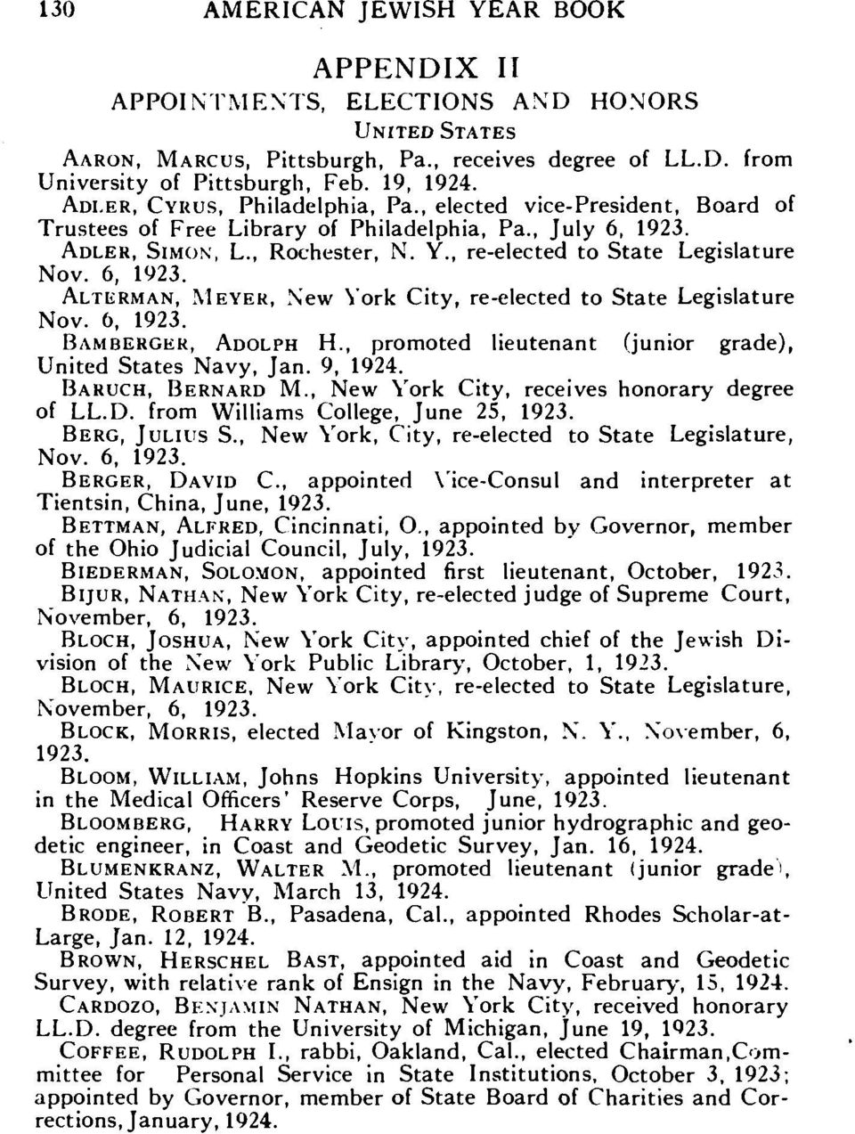 6, ALTERMAN, MEYER, New York City, re-elected to State Legislature Nov. 6, BAMBERGER, ADOLPH H., promoted lieutenant (junior grade), United States Navy, Jan. 9, 1924. BARUCH, BERNARD M.