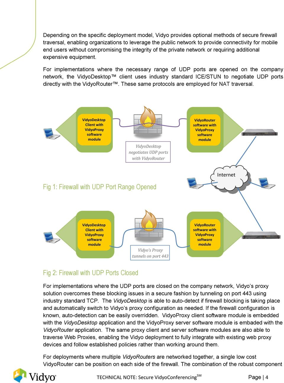 For implementations where the necessary range of UDP ports are opened on the company network, the VidyoDesktop client uses industry standard ICE/STUN to negotiate UDP ports directly with the