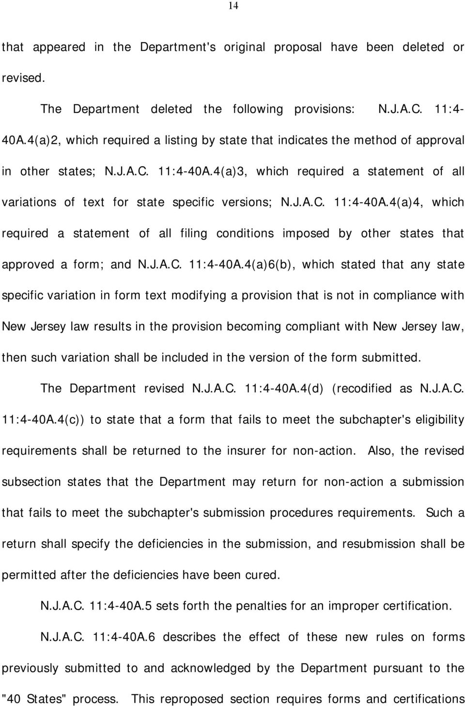 4(a)3, which required a statement of all variations of text for state specific versions; N.J.A.C. 11:4-40A.