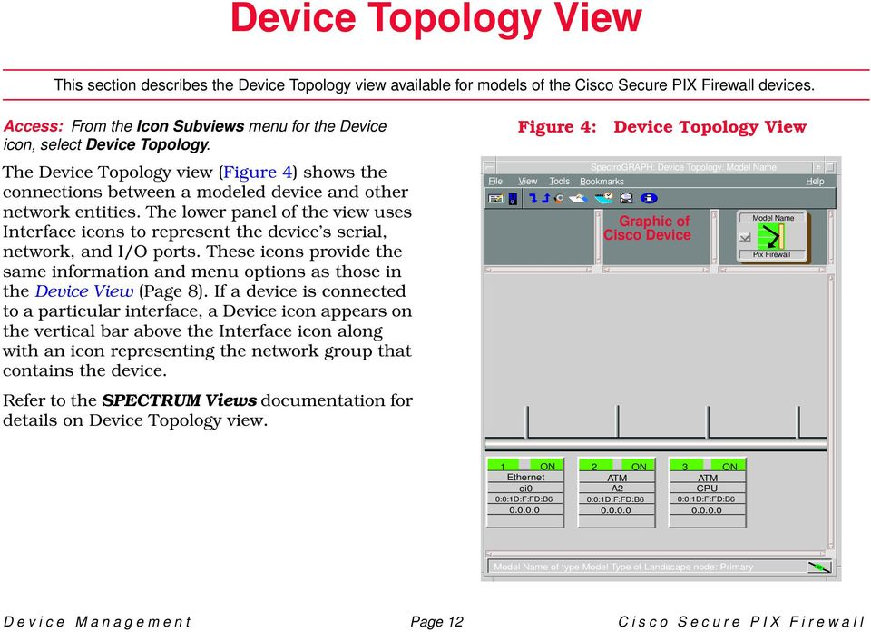 The lower panel of the view uses Interface icons to represent the device s serial, network, and I/O ports.