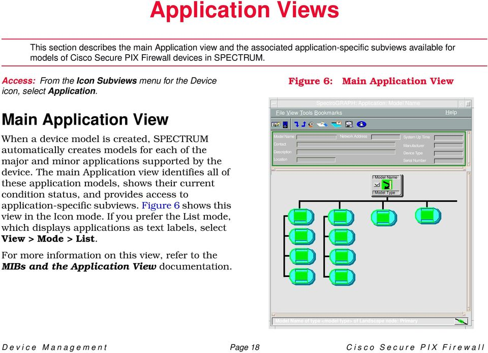 Main Application View When a device model is created, SPECTRUM automatically creates models for each of the major and minor applications supported by the device.